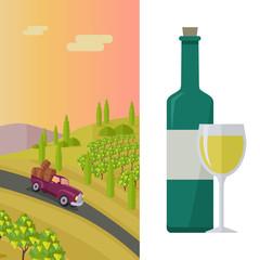 Wine Production Banner. Poster for White Vine.