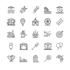 Thin line web icons set - amusement park