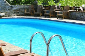 Swimming pool in summer yard