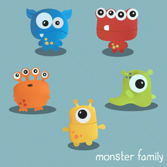 Set with five monsters. Print for Halloween. Vector set of cartoon cute monsters and aliens. Custom shapes, bodies on color background