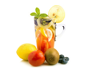 Detox water with fruit in glasses isolated on a white background