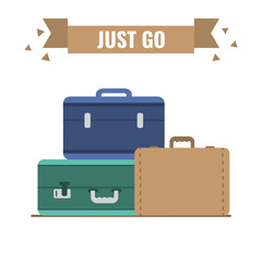 Travelers vintage suitcases. Just go concept. Vector illustration in flat style.