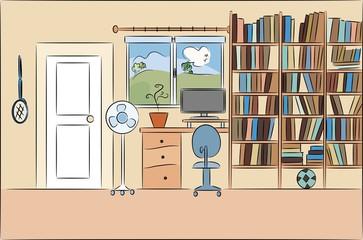 Home interior with bookcase and a computer. Home interior design