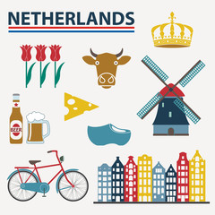 Netherlands icon set in flat style. Holland and Amsterdam symbols: wind mill, tulips, bicycle, beer. Template for travel and souvenir design. Colorful vector illustration.