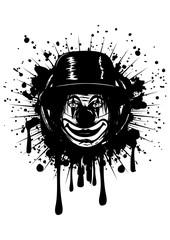 clown in hat on grunge splash
