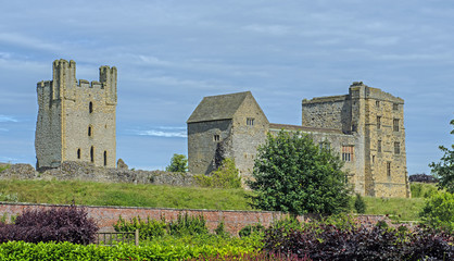 Ruins of Helmsley Castle in the small market town of Helmsley, North Yorkshire, England