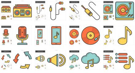 Music line icon set.