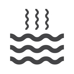 Abstract waves of water and evaporation flat icon. Black. Vector illustration