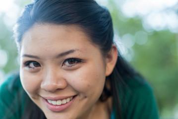 smiling college girl portrait closeup