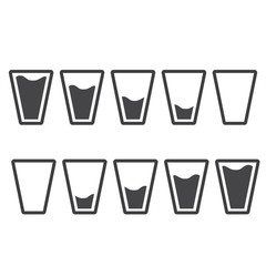 Filling black glasses of water set. Flai icons set. Vector illustration