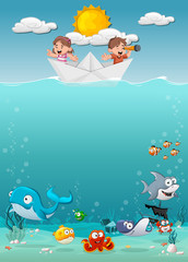 Kids inside a paper boat at the ocean with fish under water. Cartoon children at the sea.