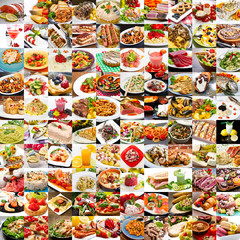 collage di foto varie di cibo, cucina mediterranea