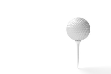 Golf ball with copy space isolated on a white background. 3D illustration
