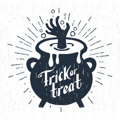 Hand drawn Halloween label with textured cauldron vector illustration and