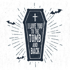 Hand drawn Halloween label with textured coffin vector illustration and