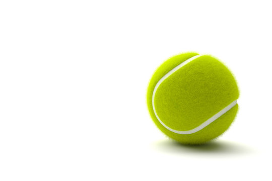 Tennis ball with copy space  isolated on a white background. 3D illustration