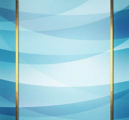 blue background design, layers of curving blue and white stripes in abstract pattern with gold ribbon stripes or frame design with sidebar panels