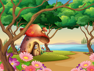 Mushroom house by the lake