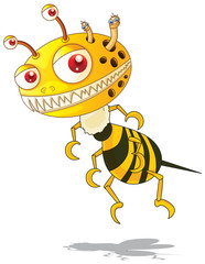 Flying monster with yellow and black striped