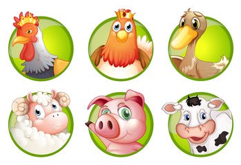 Farm animals on green badges
