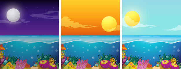Ocean scenes with different times of the day