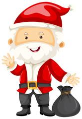 Santa holding black bag