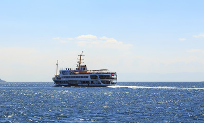 Old passenger ship - seascape in harbor Istanbul..
