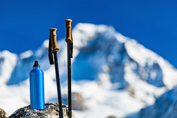 Hiking Gear over Himalaya Mountains Background