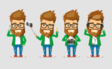 Character men hipster. The set of poses with the use  popular gadgets.