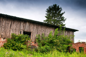 Old abandoned barn on country