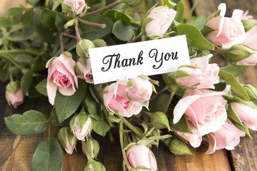 Thank You Card with Bouquet of Pink Roses