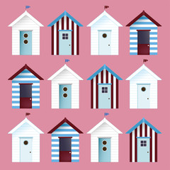multicolor Beach Huts. Vector pattern