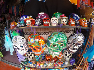 Day of the Dead skulls in open air shop