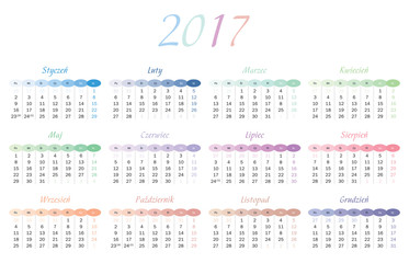 Calendar for 2017 in Polish