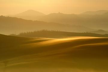 Tuinposter Ochtendgloren Tuscany Landscape at Sunrise, Morning Fog, Val d'Orcia, Tuscany, Italy