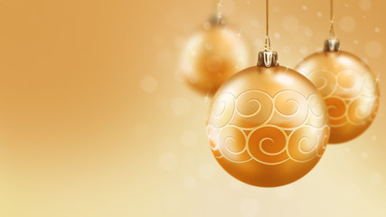 Christmas and new year gold balls background