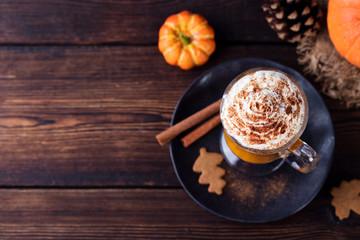 Pumpkin smoothie, spice latte. Boozy cocktail