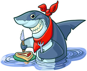 Cute Happy Cartoon Shark with Steak and Eating Utensils