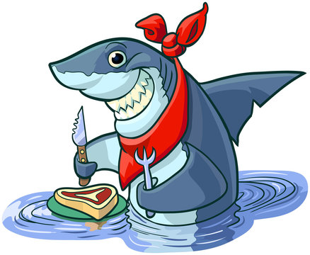 Cute Happy Cartoon Shark with Steak and Eating Utensils