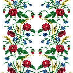 Seamless pattern.Wallpapers or textile.Color  bouquet of flowers (poppies,ears of wheat and cornflowers) using traditional Ukrainian embroidery elements.  Can be used as pixel-art.