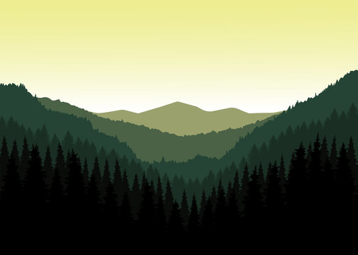 Panorama of mountains. Valley(canyon). Three peaks. Natural shades.