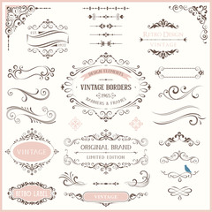 Ornate retro labels, flourishes elements, calligraphy swirls, corner ornaments and frames.