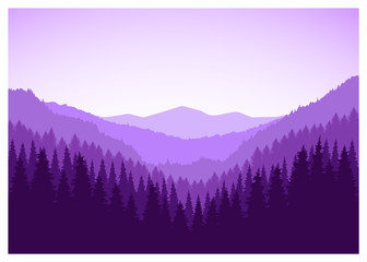 Panorama of mountains. Valley(canyon). Three peaks.  Violet tones.