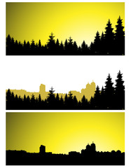 Three  panoramic banners of city and coniferous forest.  Yellow and black tones.