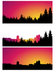 Three  panoramic banners of city and coniferous forest.  Colorful tones.