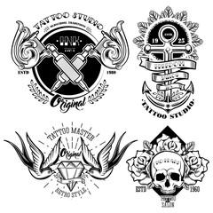 Tattoo Studio Monochrome Emblems Set