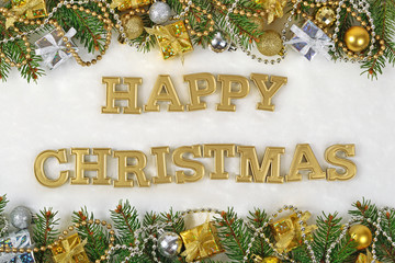 Happy christmas golden text and spruce branch and Christmas deco