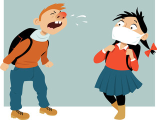 Schoolboy sneezing at his classmate, who is wearing a medical face mask, EPS 8 vector illustration, no transparencies