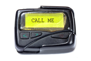 Old pager on a white background