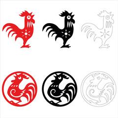 Логотип, значок . Красный огненный петух как символ Нового года по китайскому календарю. Векторная иллюстрация петух, элемент дизайна на Новый год 2017 открытки.